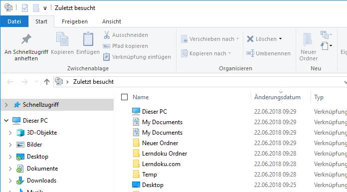 Windows 10 Zuletzt Verwendete Dateien